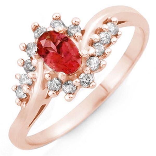 0.50 ctw Pink Tourmaline & Diamond Ring 14k Rose Gold - REF-25H9R