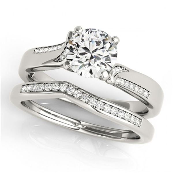0.85 ctw Certified VS/SI Diamond 2pc Wedding Set 14k White Gold - REF-107X8A