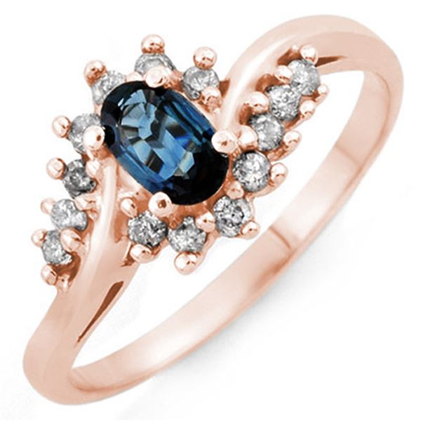 0.50 ctw Blue Sapphire & Diamond Ring 14k Rose Gold - REF-24N3F