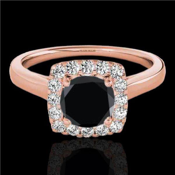 1.37 ctw Certified VS Black Diamond Solitaire Halo Ring 10k Rose Gold - REF-51M3G