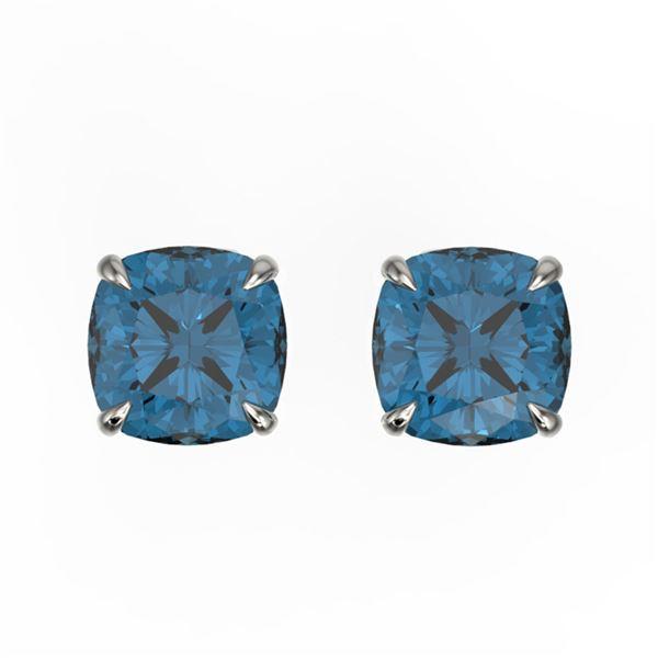3 ctw Cushion London Blue Topaz Designer Stud Earrings 18k White Gold - REF-17K6Y