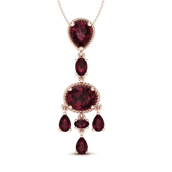 8 ctw Garnet Necklace Designer Vintage 10k Rose Gold - REF-25F8M