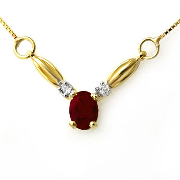 1.30 ctw Ruby & Diamond Necklace 10k Yellow Gold - REF-14A9N