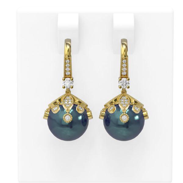 1 ctw Diamond & Pearl Earrings 18K Yellow Gold - REF-129F8M