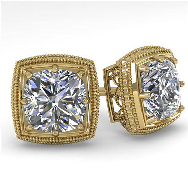 1.0 ctw VS/SI Cushion Cut Diamond Stud Earrings Art Deco 18k Yellow Gold - REF-170W9H