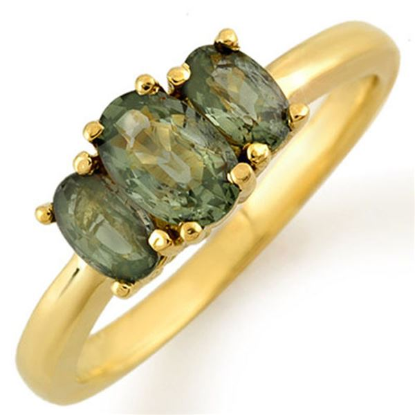 1.18 ctw Green Sapphire Ring 10k Yellow Gold - REF-13X8A