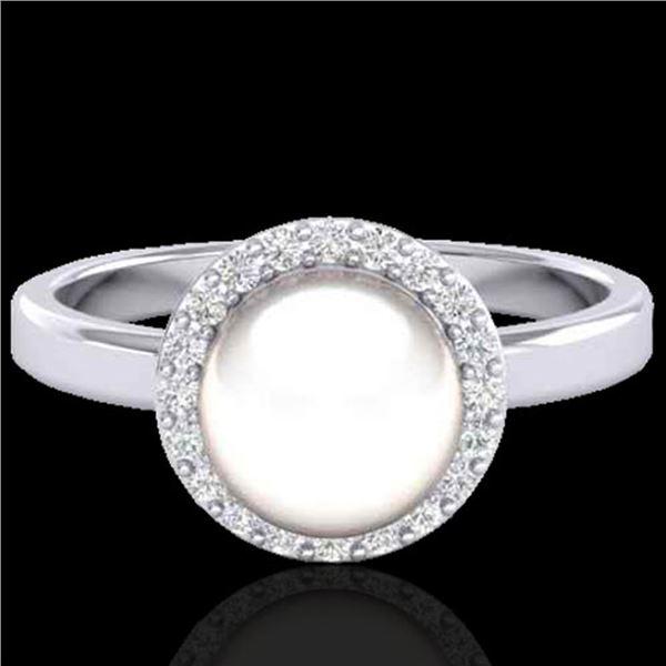 0.25 ctw Micro Pave VS/SI Diamond & White Pearl Ring 18k White Gold - REF-41F6M