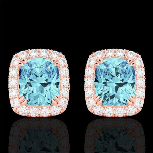 2.50 ctw Sky Blue Topaz & Micro VS/SI Diamond Earrings 10k Rose Gold - REF-30R8K