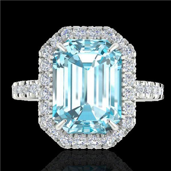 6.03 ctw Sky Blue Topaz & Micro Pave VS/SI Diamond Ring 18k White Gold - REF-47A9N