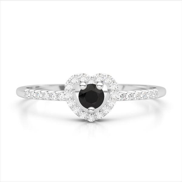 0.37 ctw Black & White VS/SI Diamond Micro Heart Ring 18k White Gold - REF-21H3R
