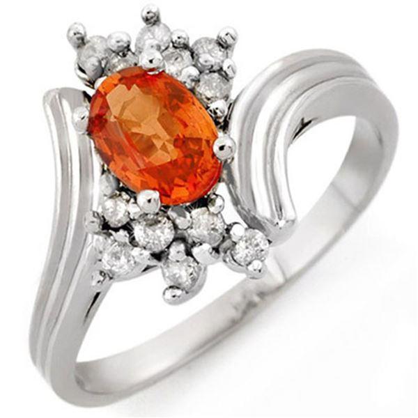 1.0 ctw Orange Sapphire & Diamond Ring 18k White Gold - REF-33H3R