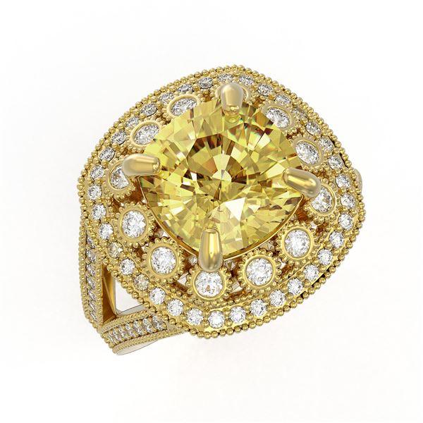 7.22 ctw Canary Citrine & Diamond Victorian Ring 14K Yellow Gold - REF-135G5W