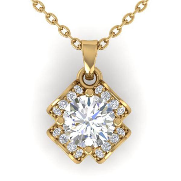 0.95 ctw VS/SI Diamond Art Deco Stud Necklace 14k Yellow Gold - REF-114G5W