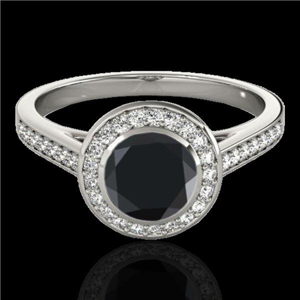 1.3 ctw Certified VS Black Diamond Solitaire Halo Ring 10k White Gold - REF-49H4R