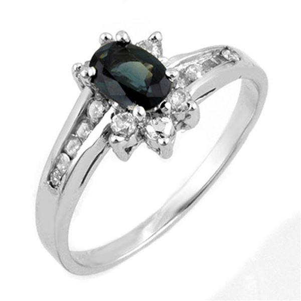 1.08 ctw Blue Sapphire & Diamond Ring 14k White Gold - REF-30A2N