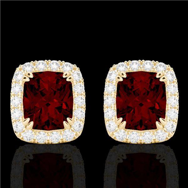 2.50 ctw Garnet & Micro Pave VS/SI Diamond Earrings 10k Yellow Gold - REF-34Y3X