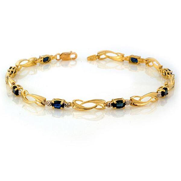 2.52 ctw Blue Sapphire & Diamond Bracelet 10k Yellow Gold - REF-19X9A