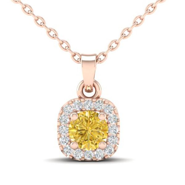 0.38 ctw Citrine & Micro VS/SI Diamond Necklace Halo 14k Rose Gold - REF-25A9N