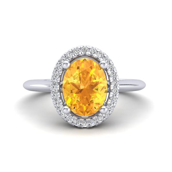 1.75 ctw Citrine & Micro VS/SI Diamond Ring Halo 18k White Gold - REF-32G8W