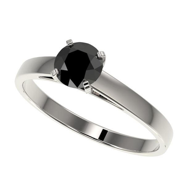 0.75 ctw Fancy Black Diamond Solitaire Engagment Ring 10k White Gold - REF-23F3M