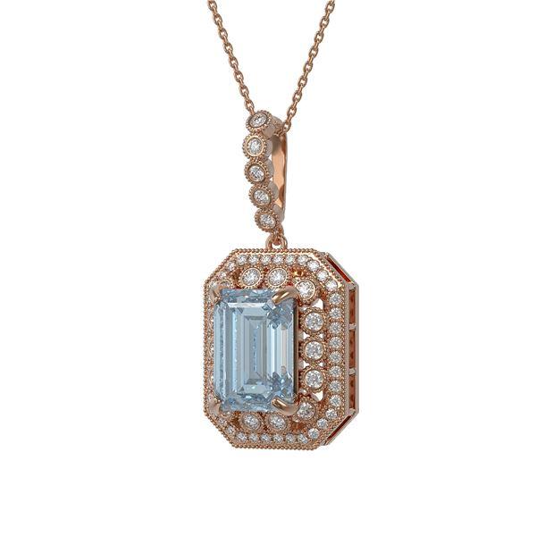 12.5 ctw Sky Topaz & Diamond Victorian Necklace 14K Rose Gold - REF-199R3K