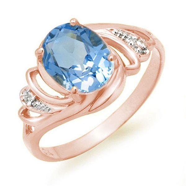 2.53 ctw Blue Topaz & Diamond Ring 18k White Gold - REF-24N8F