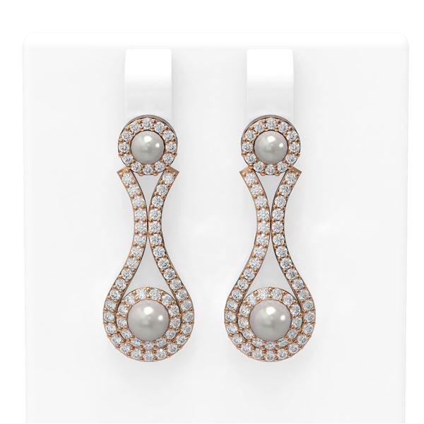 2.03 ctw Diamond & Pearl Earrings 18K Rose Gold - REF-176Y9X
