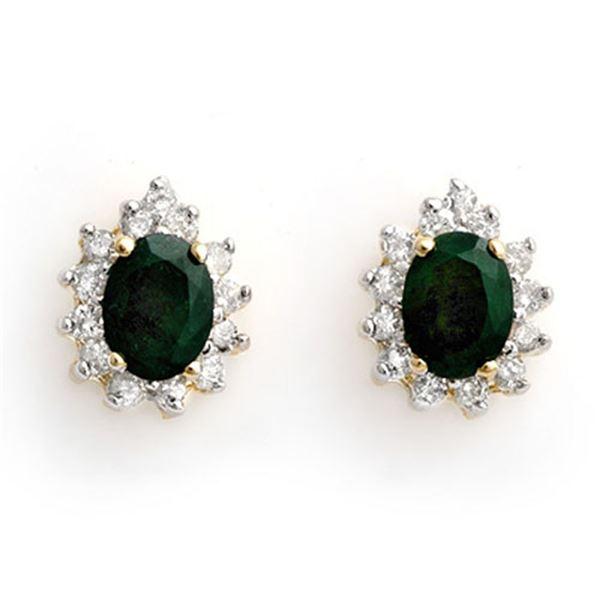 3.85 ctw Emerald & Diamond Earrings 14k Yellow Gold - REF-89X3A