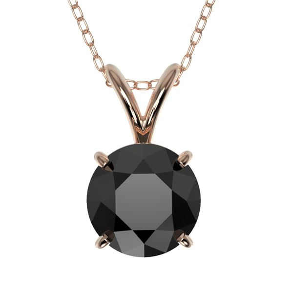 1 ctw Fancy Black Diamond Solitaire Necklace 10k Rose Gold - REF-21Y5X
