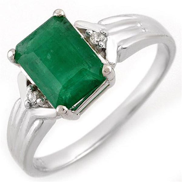 1.53 ctw Emerald & Diamond Ring 18k White Gold - REF-30H2R