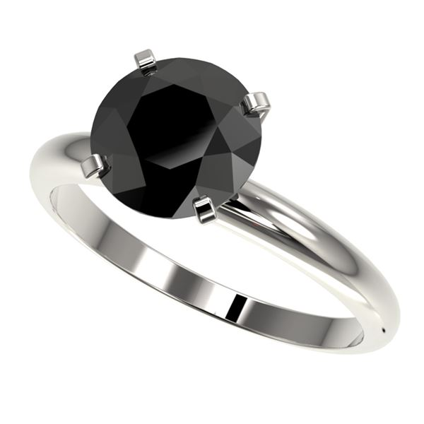 2.59 ctw Fancy Black Diamond Solitaire Engagment Ring 10k White Gold - REF-57N8F