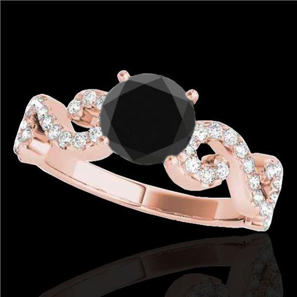 1.4 ctw Certified VS Black Diamond Solitaire Ring 10k Rose Gold - REF-49W2H