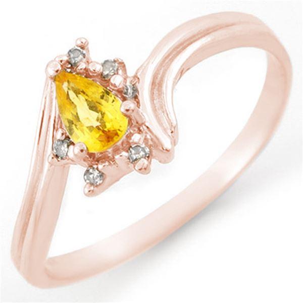 0.35 ctw Yellow Sapphire & Diamond Ring 18k Rose Gold - REF-19H2R