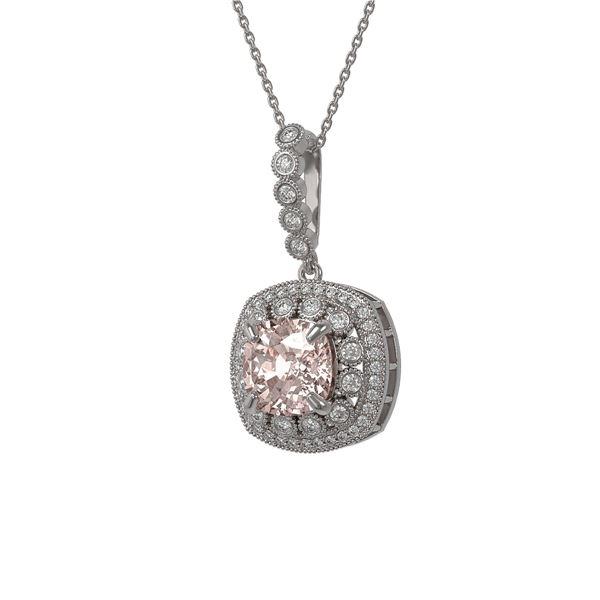 5.83 ctw Morganite & Diamond Victorian Necklace 14K White Gold - REF-209G3W