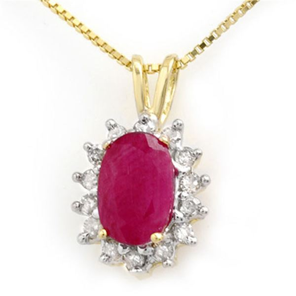 1.90 ctw Ruby & Diamond Pendant 10k Yellow Gold - REF-15W5H