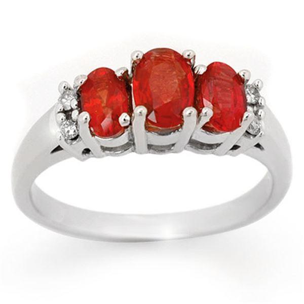 1.29 ctw Red Sapphire & Diamond Ring 10k White Gold - REF-21H8R