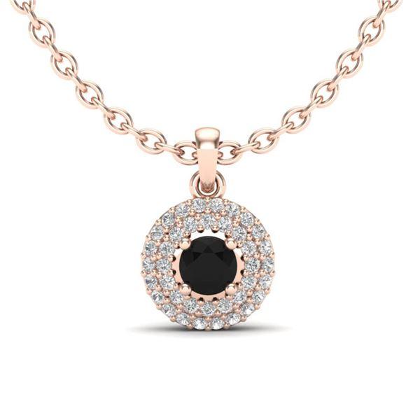 0.70 ctw Micro Pave VS/SI Diamond Designer Necklace 14k Rose Gold - REF-34H2R