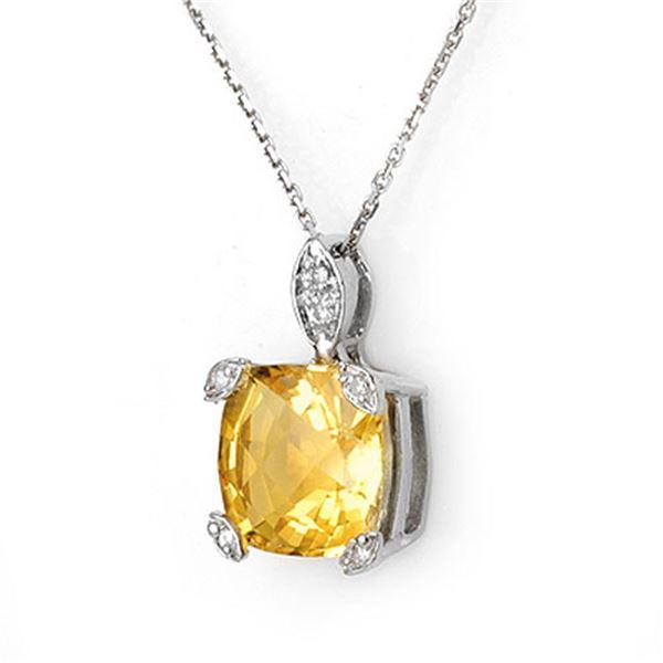 5.10 ctw Citrine & Diamond Necklace 14k White Gold - REF-18F8M