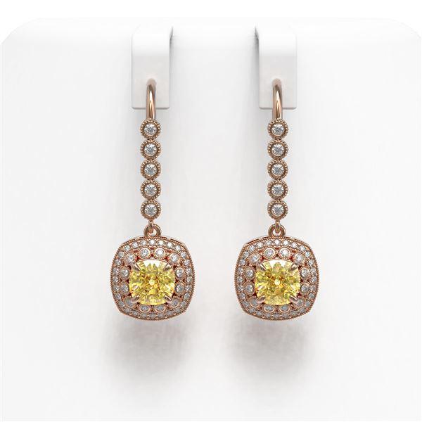 4.1 ctw Canary Citrine & Diamond Victorian Earrings 14K Rose Gold - REF-124R4K
