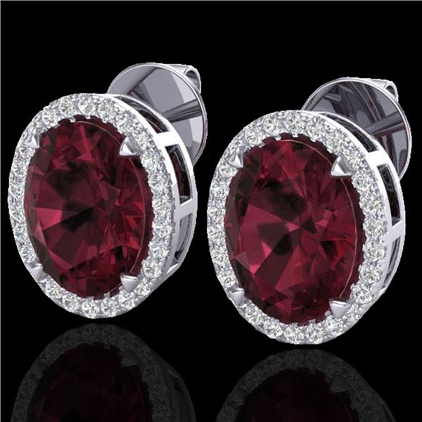 5.50 ctw Garnet & Micro VS/SI Diamond Halo Earrings 18k White Gold - REF-48R2K