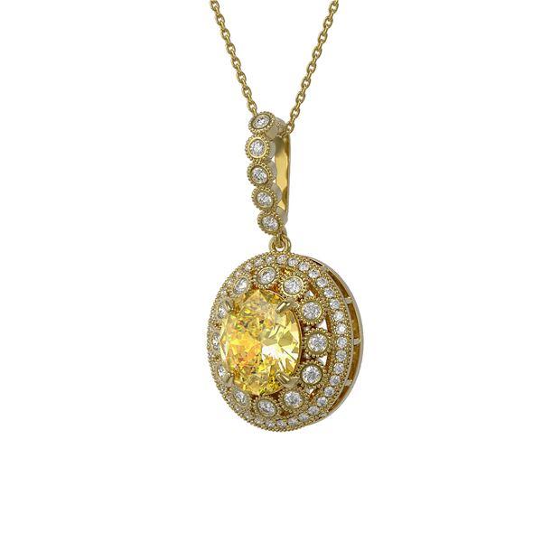 7.66 ctw Canary Citrine & Diamond Victorian Necklace 14K Yellow Gold - REF-143W6H