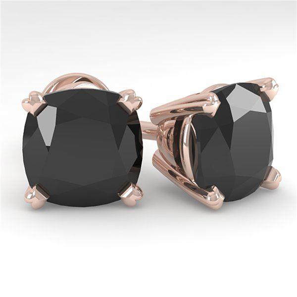 6 ctw Cushion Black Diamond Stud Designer Earrings 14k Rose Gold - REF-115F8M