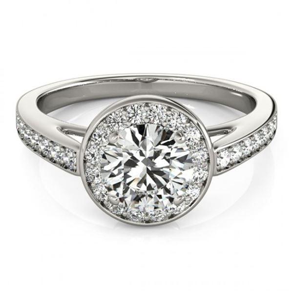 0.9 ctw Certified VS/SI Diamond Halo Ring 18k White Gold - REF-91G5W