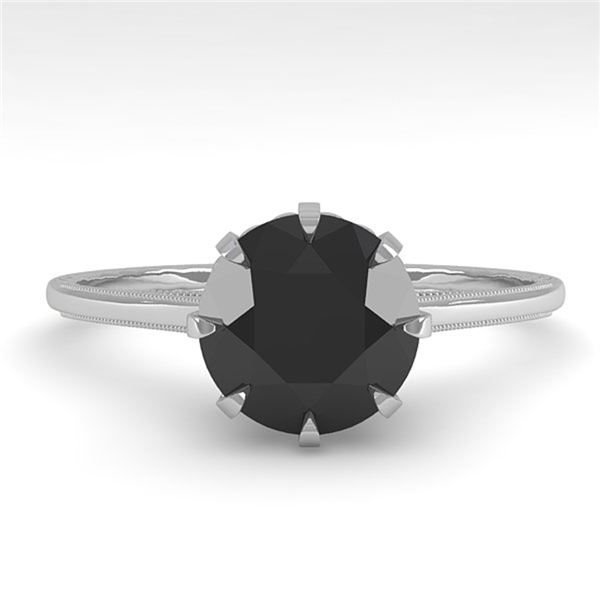 1.50 ctw Black Certified Diamond Engagment Ring 18k White Gold - REF-66K2Y