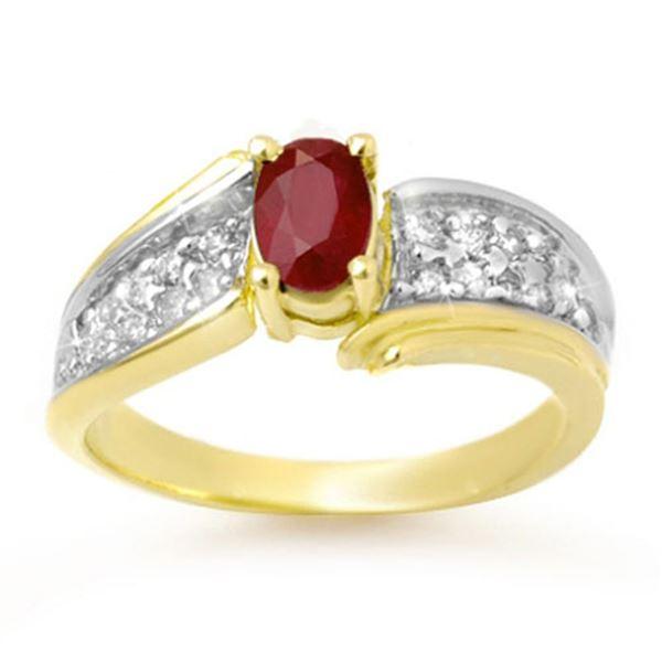 1.43 ctw Ruby & Diamond Ring 10k Yellow Gold - REF-34K8Y