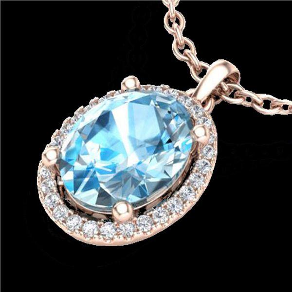 3 ctw Sky Blue Topaz & Micro Pave Diamond Necklace 14k Rose Gold - REF-32K8Y