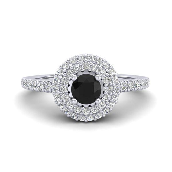 0.80 ctw Micro VS/SI Diamond Designer Ring Halo 18k White Gold - REF-46A3N