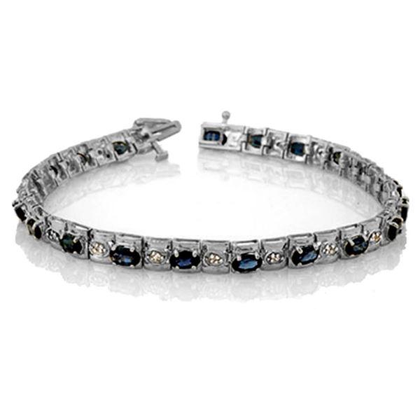 6.09 ctw Blue Sapphire & Diamond Bracelet 14k White Gold - REF-105W5H