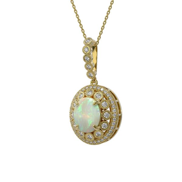 5.13 ctw Certified Opal & Diamond Victorian Necklace 14K Yellow Gold - REF-182A2N