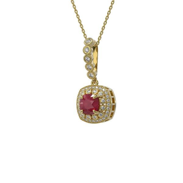 2.55 ctw Certified Ruby & Diamond Victorian Necklace 14K Yellow Gold - REF-100F2M